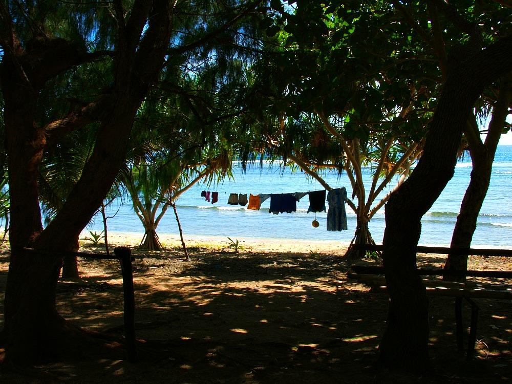 laundry hanging by the ocean