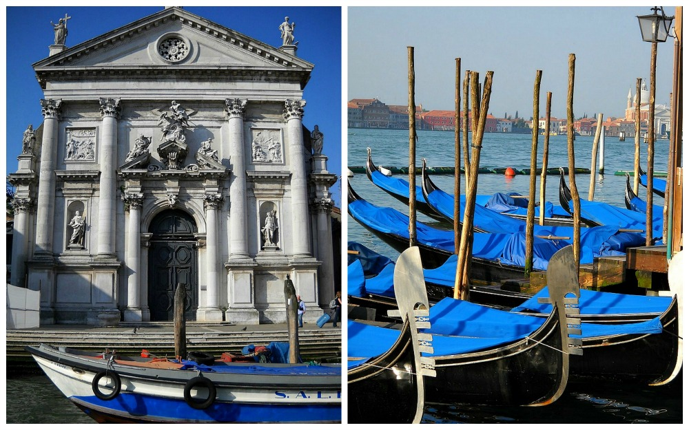 blue boats in Venice