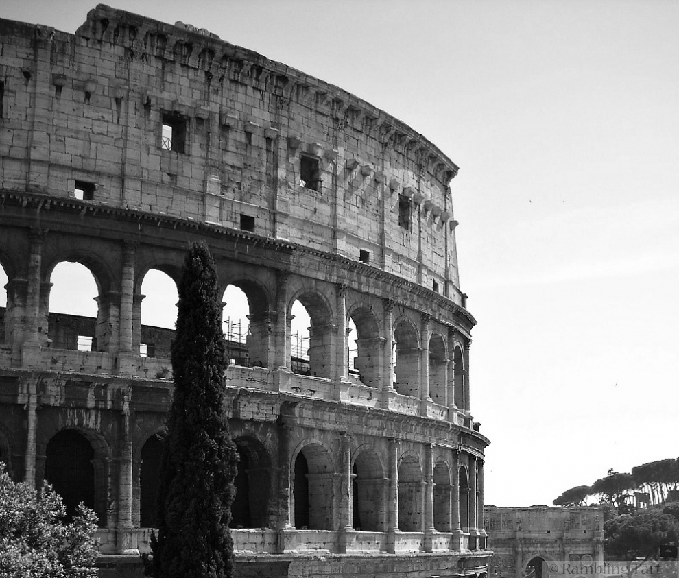 Roman Colosseum in black and white