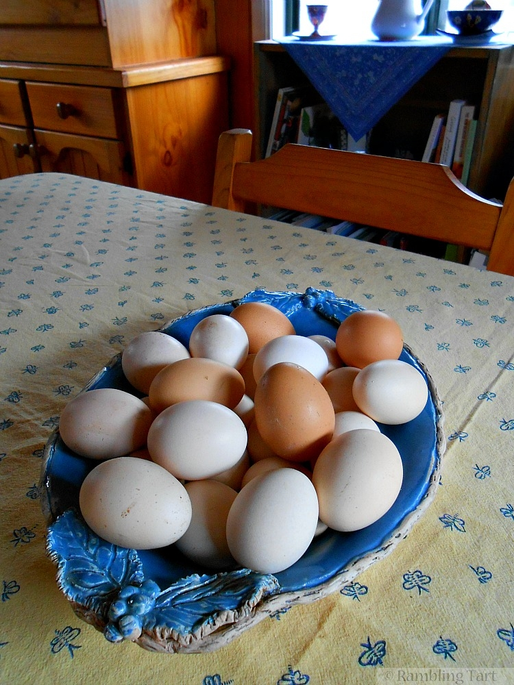 eggs in a blue bowl
