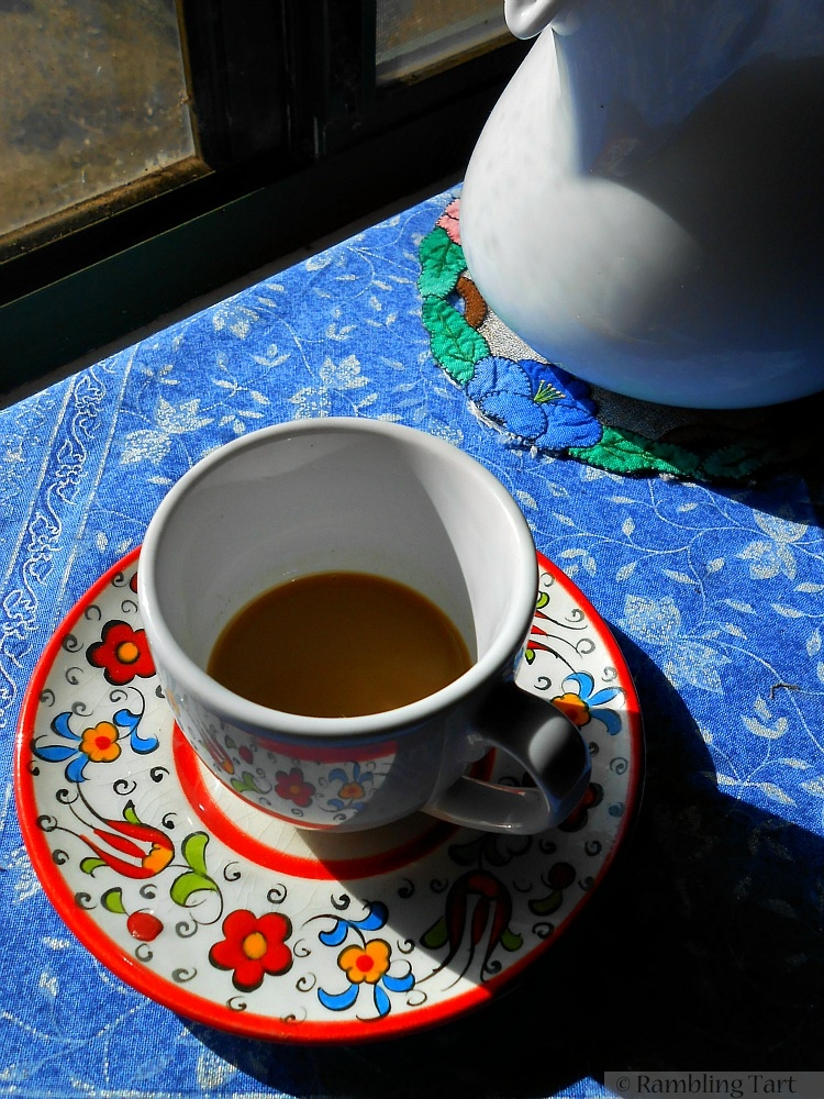 cup of coffee in sunshine