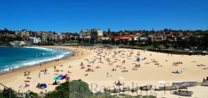 A view of Coogee Beach on a clear day from Dolphin Point by Mynameisben123