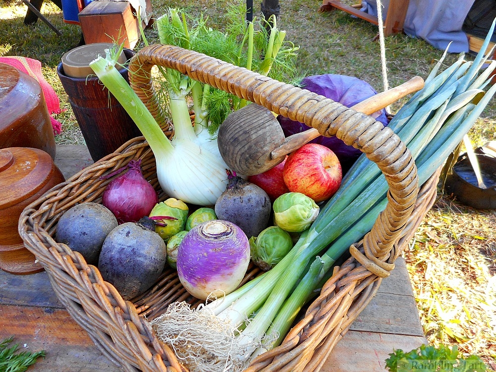 basket of medieval vegetables