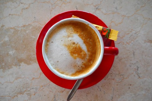 latte in red cup