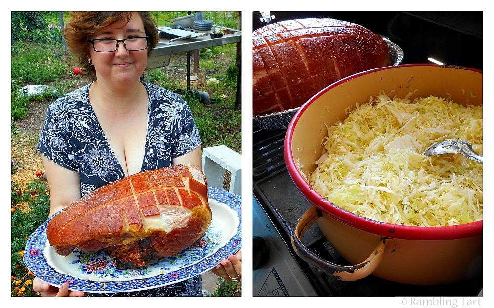 roasted ham and cabbage