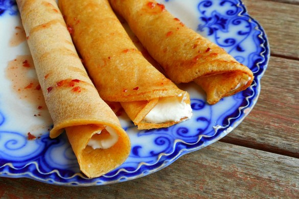 spelt crepes with goat cheese