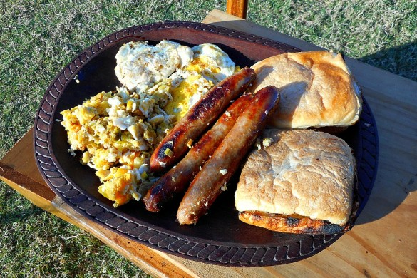 sausages eggs and toast