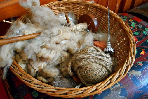 wool and spindles