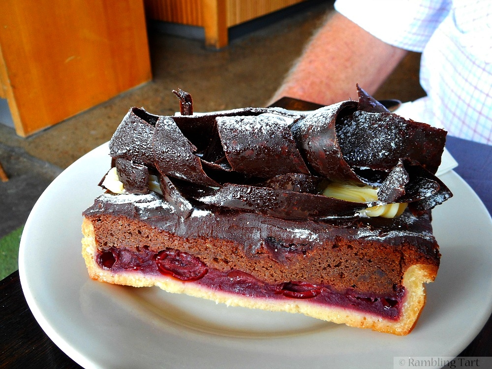 sour cherry chocolate tart