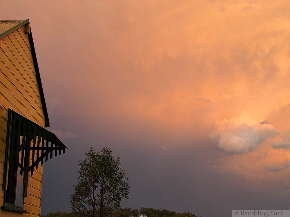 roof and storm clouds