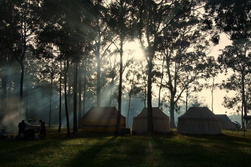 camp at dawn