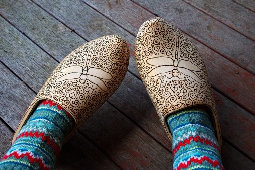 wood burned wooden clogs