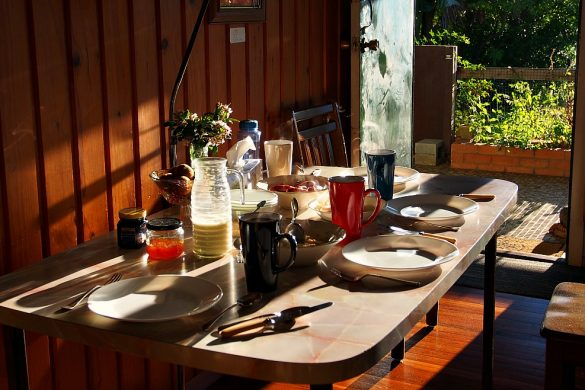 sunlit breakfast table