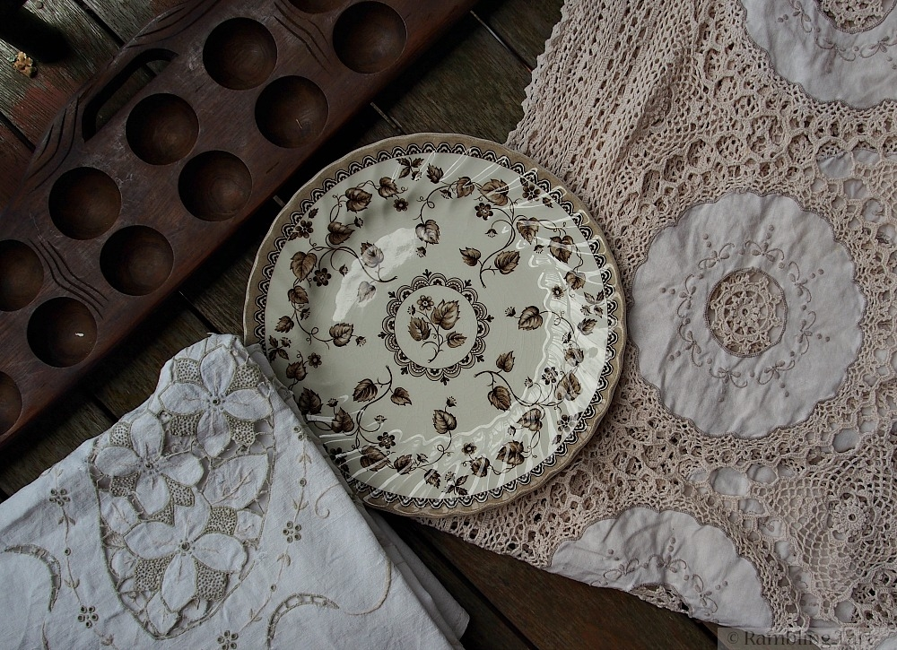 crochet linen and stoneware