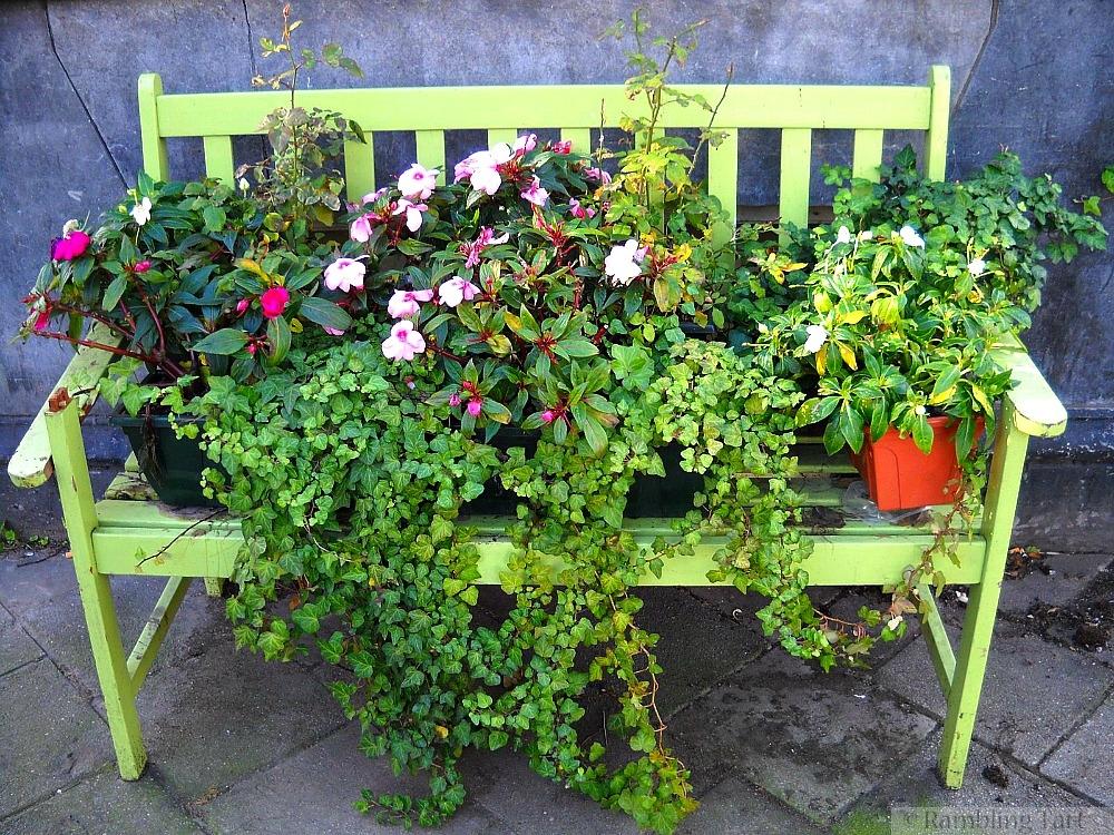 flowered bench