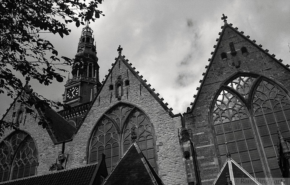 Dutch church in black and white