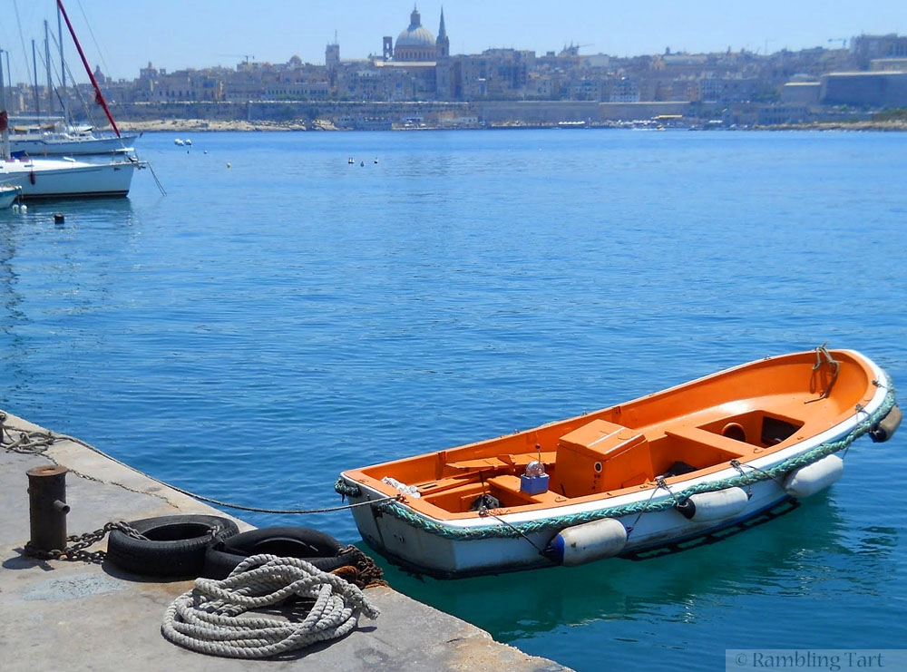 orange boat in Malta