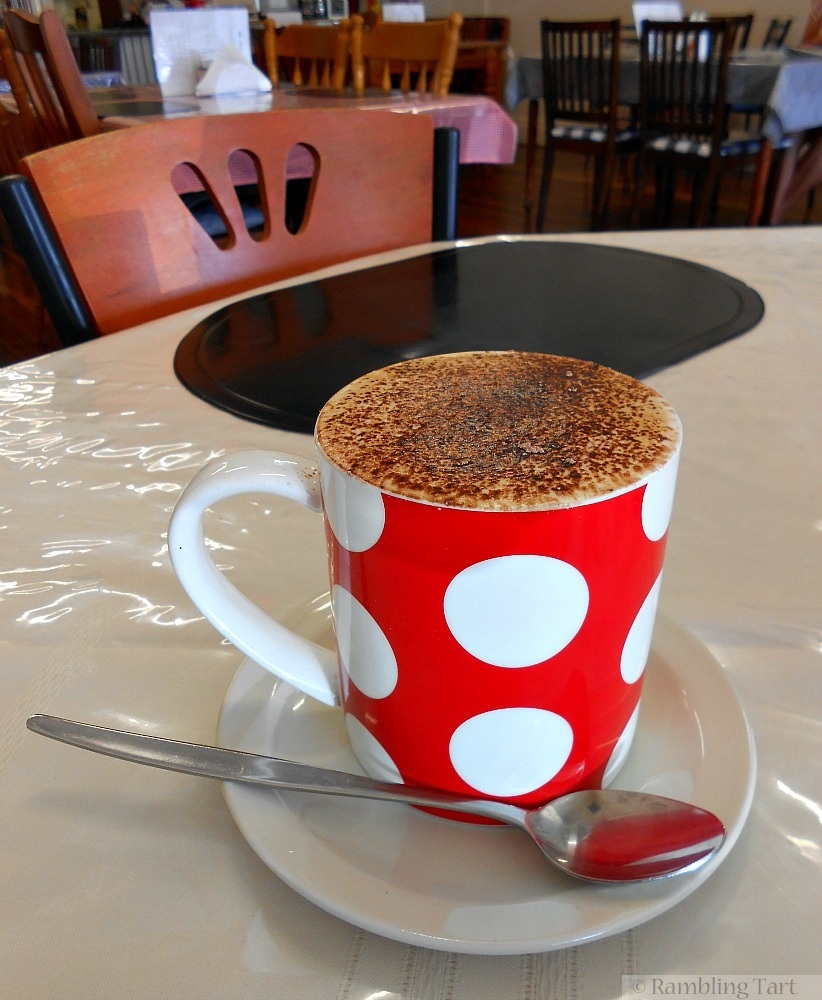 cappuccino in a red mug