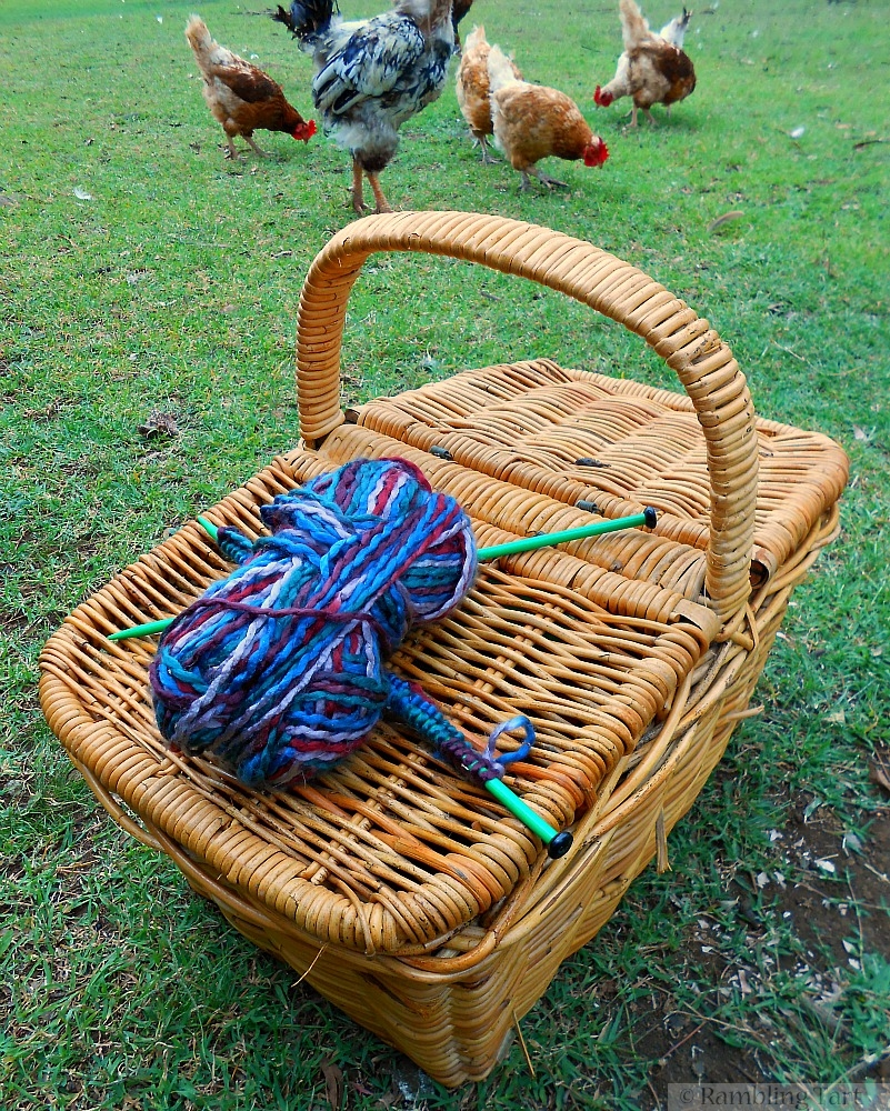 wool on knitting basket