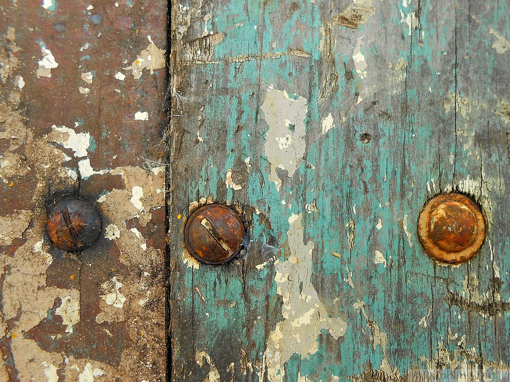 weathered wood door