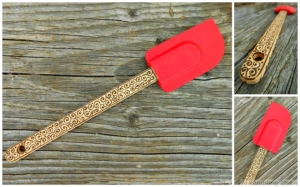 wood burned red spatula