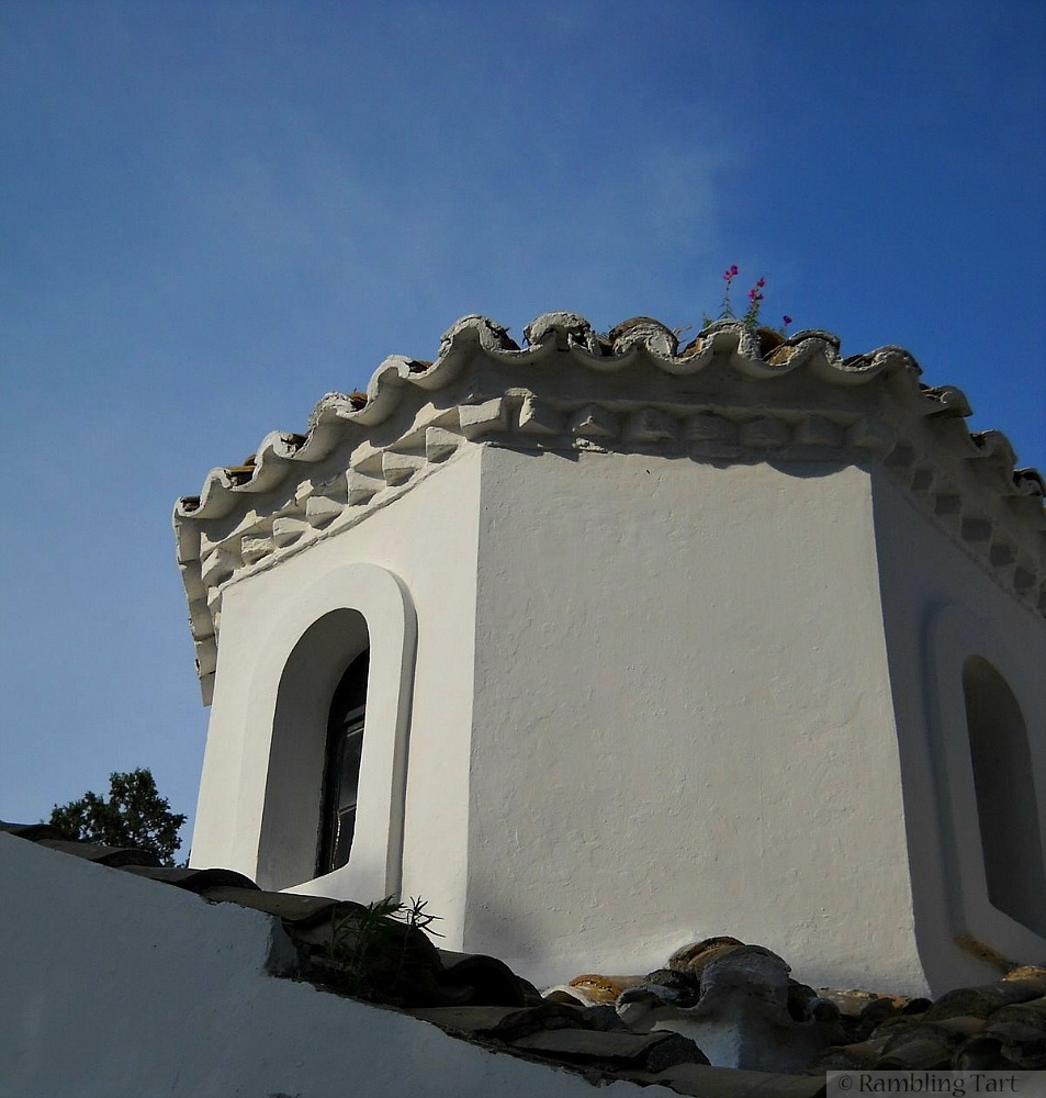 white washed Greek tower