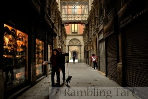 A passage in the Gothic quarter of Barcelona, Catalonia, Spain.