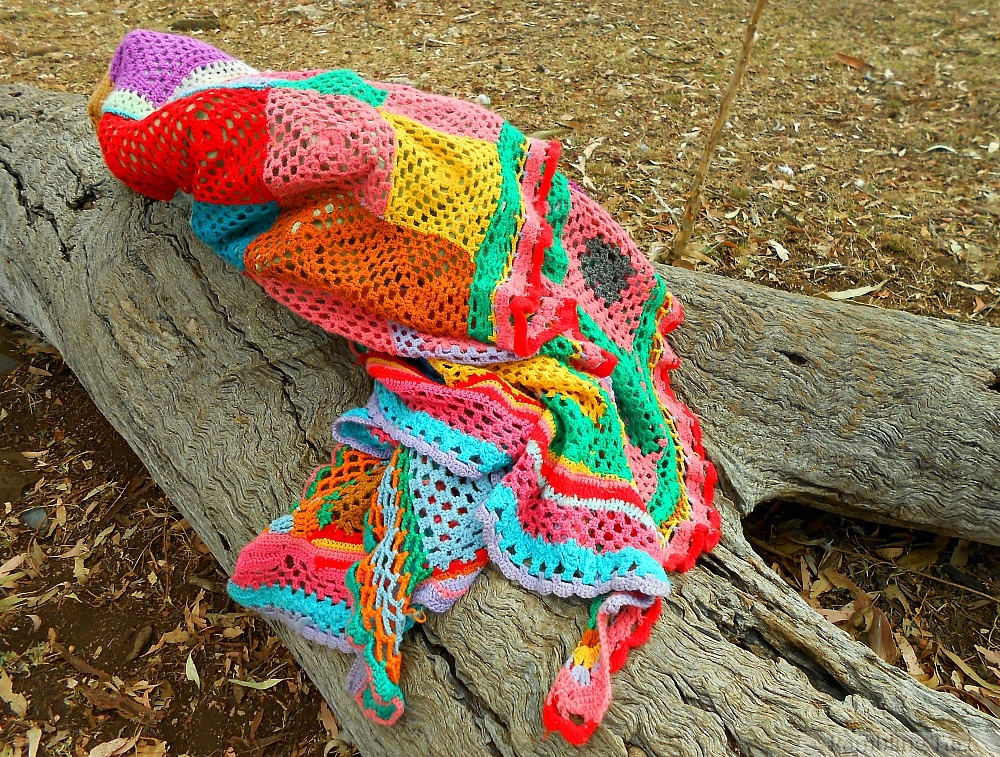 brightly colored afghan