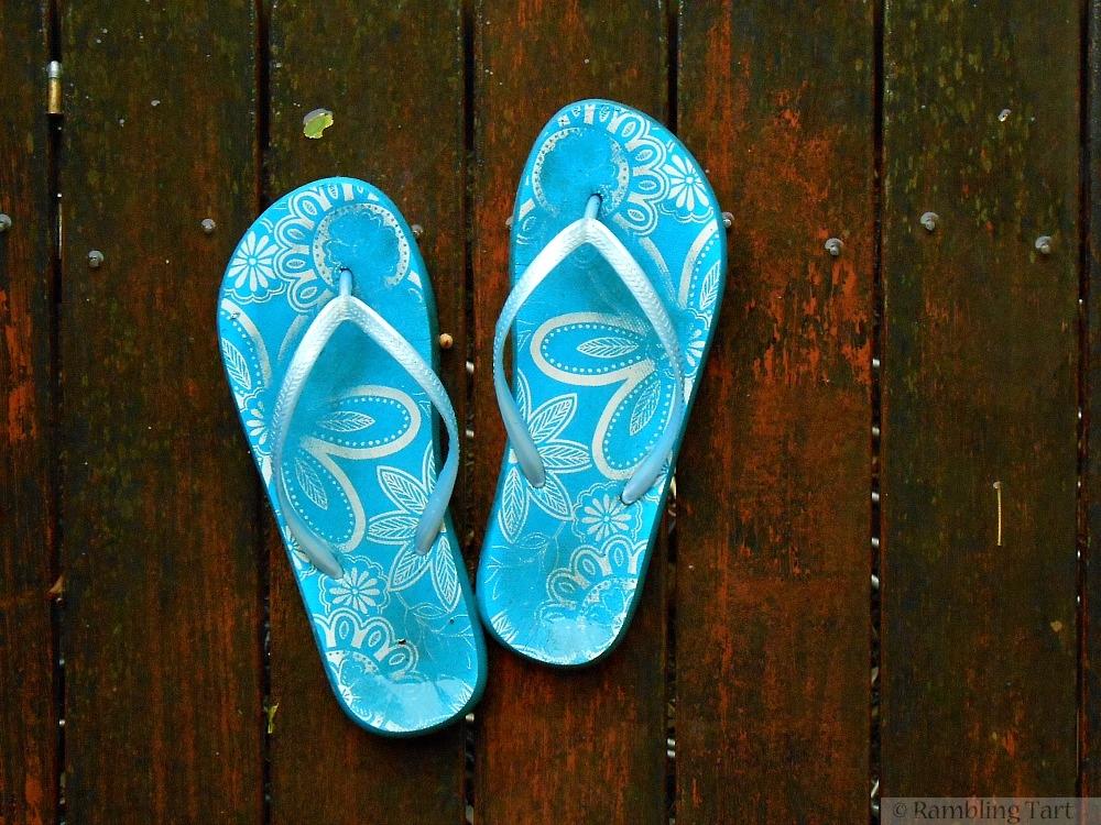 flip flops in the rain