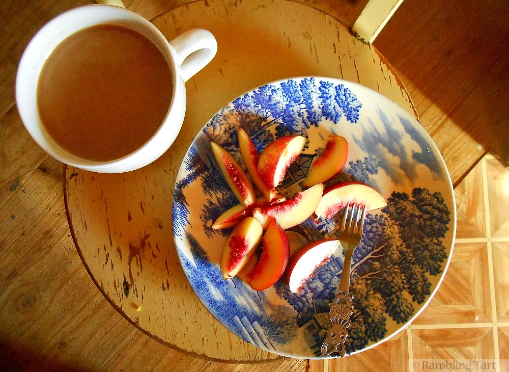 nectarines and coffee
