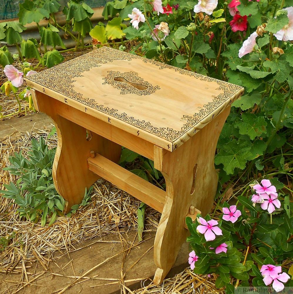 wood burned stool