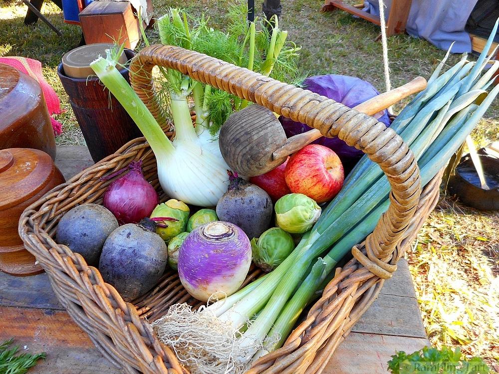 basket of medieval vegetables