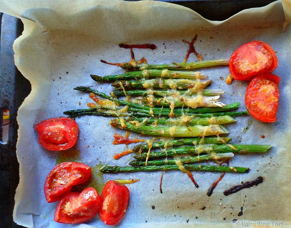 roasted tomatoes and asparagus