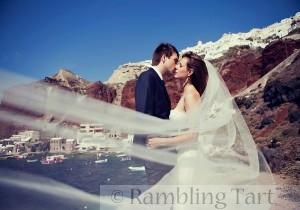 bride and groom on caldera