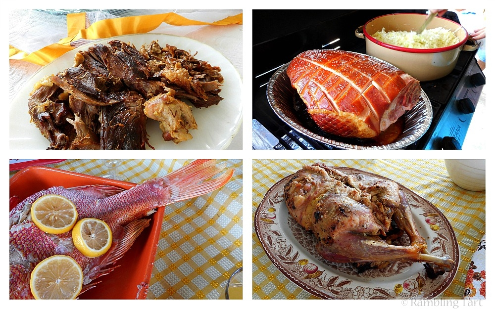 roasted meat and fish