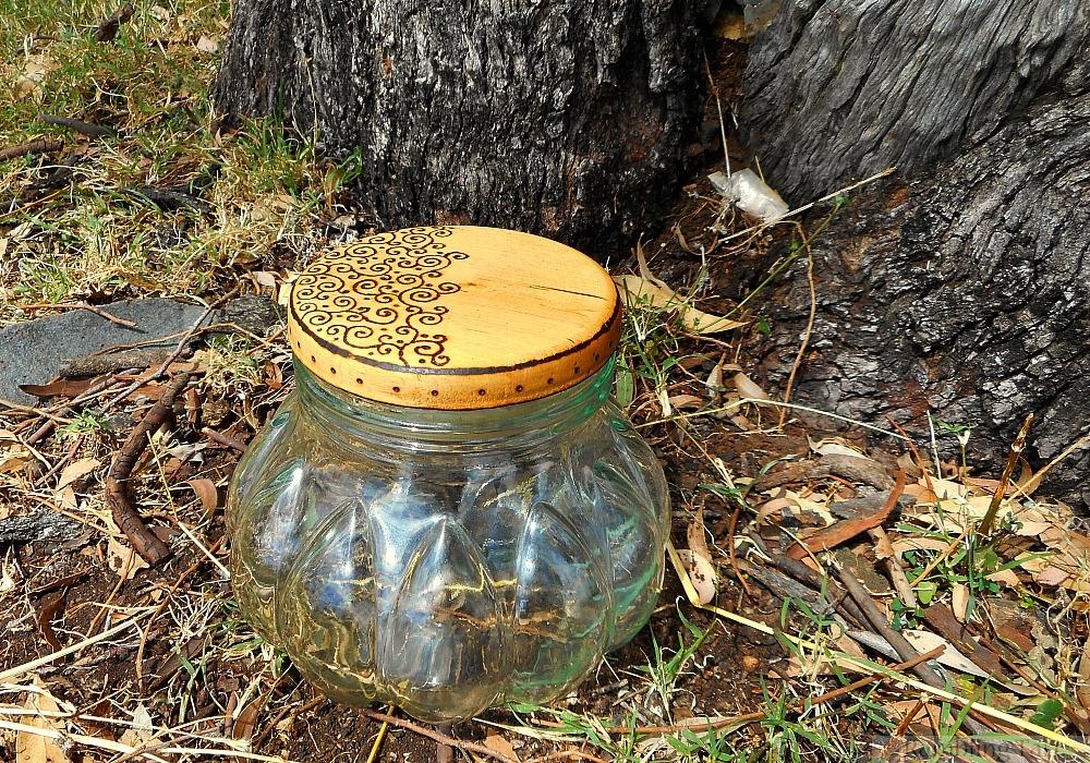 wood burned lid for glass jar