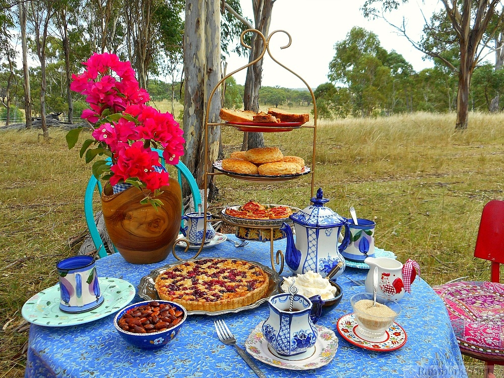 country tea party setting