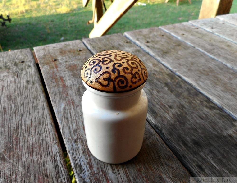 wood-burned spice jar