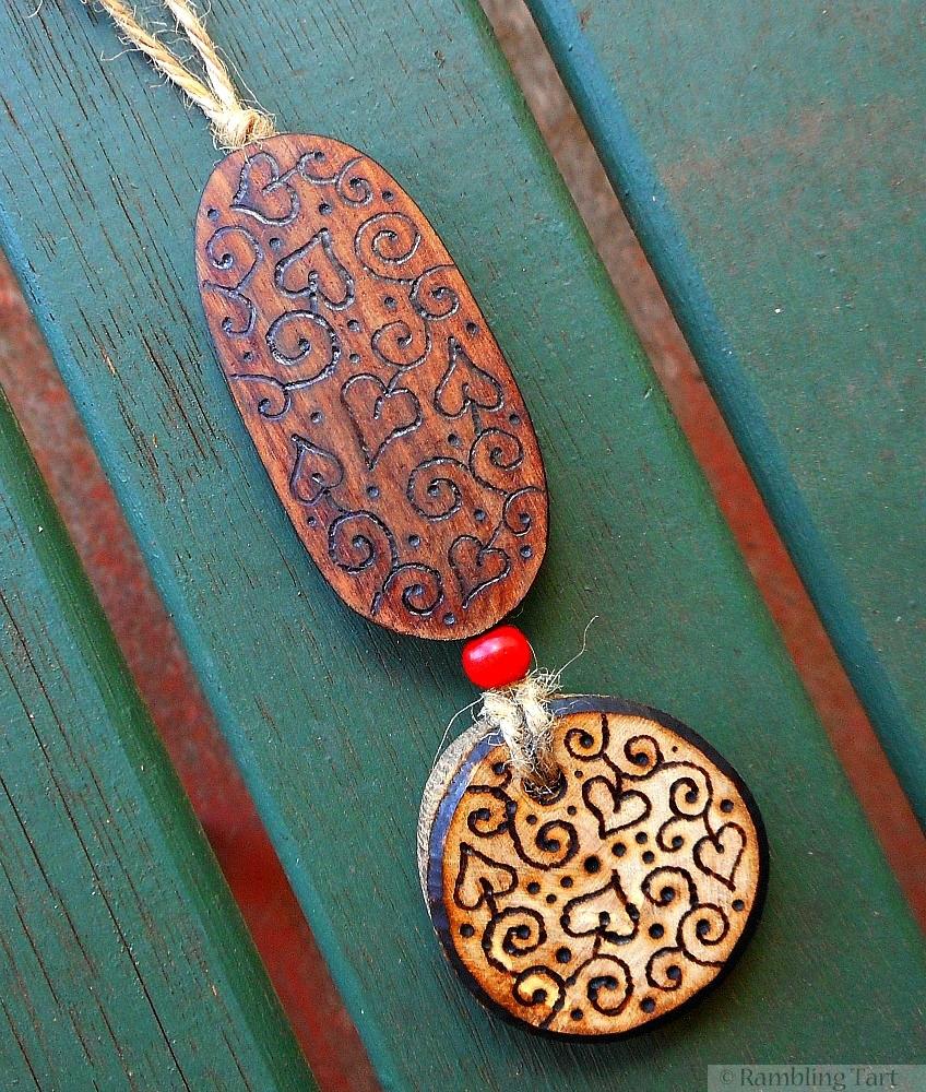 wood burned necklace
