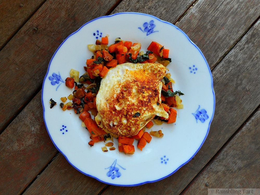 fried eggs and sweet potatoes