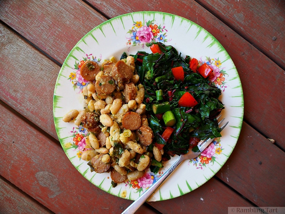 sausage beans and greens