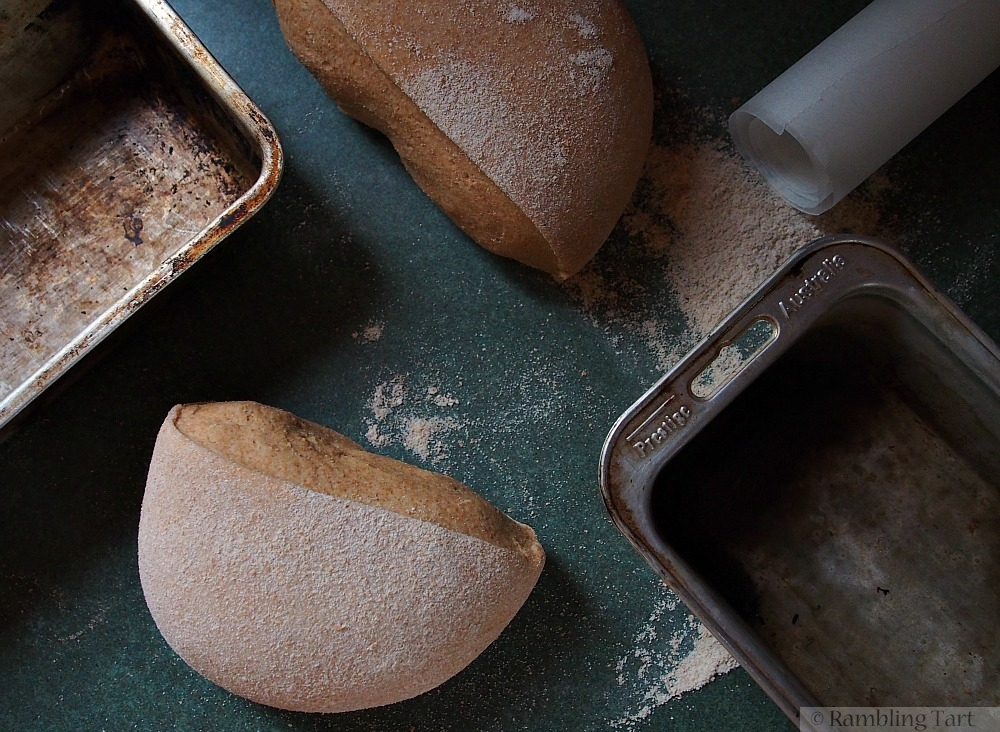 bread dough and pans