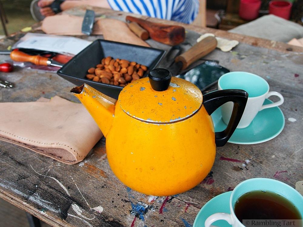 old yellow teapot