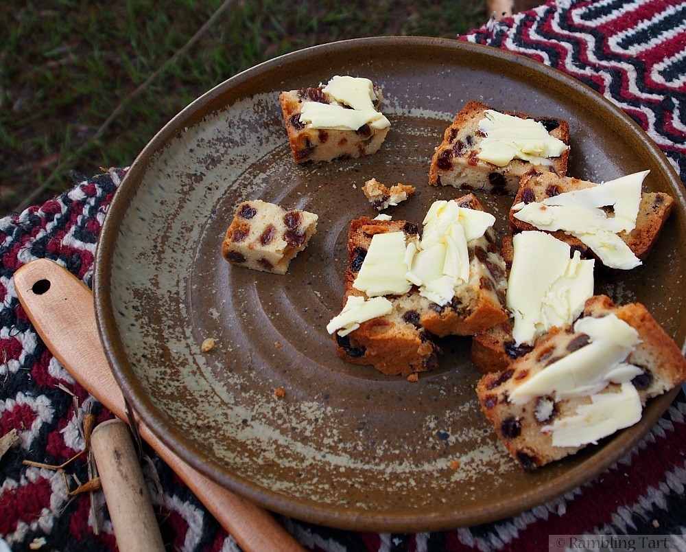 medieval fruit cake with butter