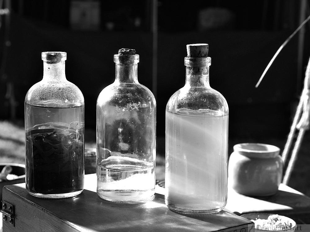 old bottles black and white