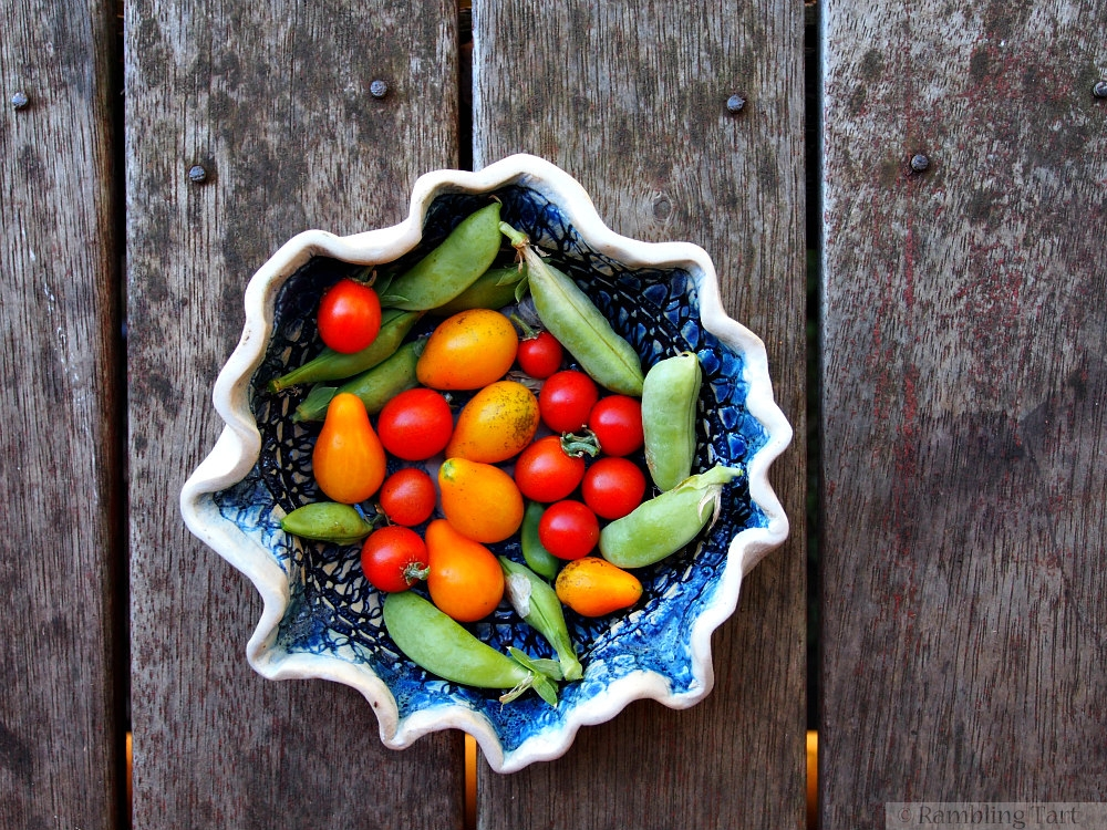 cherry tomatoes and sugar snap peas